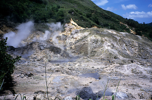 """Soufriere, St. Lucia. Hot springs, steam and sulphur gases in """"drive in volcano""""."""