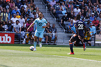 ST PAUL, MN - JULY 18: Niko Hansen #11 of Minnesota United FC with the cross during a game between Seattle Sounders FC and Minnesota United FC at Allianz Field on July 18, 2021 in St Paul, Minnesota.