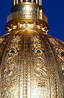 Close up detail of the ornate golden dome of the West Virginia capitol building. Charleston, West Virginia.