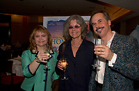 August 29,  2003, Montreal, Quebec, Canada<br /> <br /> Victoria Paige Meyerink, Producer (L)<br /> Genevieve Bujold , actress (M)<br /> David Folder, Director (R) make a toast at the reception for  the movie  FINDING HOME presented in the official competition of the 2003 World Film Festival<br /> <br /> The Festival runs from August 27th to september 7th, 2003