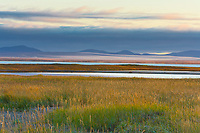 View to the north overlooking Safety Sound and the distant Kigluaik mountains on the Seward Peninsula, wester Arctic, Alaska.