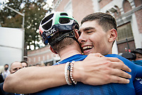 Filippo Baroncini (ITA/Colpack Ballan) is the 2021 U23 Road Race World Champion and is cheered by teammates and staff post-finish<br /> <br /> U23 - Road Race (WC)<br /> race from Antwerp to Leuven (161.1km)<br /> <br /> UCI Road World Championships - Flanders Belgium 2021<br /> <br /> ©kramon