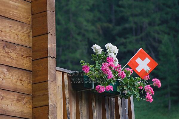 Swiss flag and flower pot, Binn, Wallis, Switzerland, August 2006