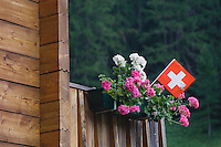 Swiss flag and flower pot, Binn, Wallis, Switzerland, August 2006