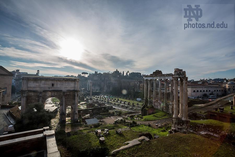 Jan. 28, 2014; Roman Forum, Rome.<br /> <br /> Photo by Matt Cashore/University of Notre Dame