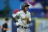 Alika Williams (6) of the Charleston RiverDogs jogs towards home plate after hitting a home run against the Kannapolis Cannon Ballers at Atrium Health Ballpark on June 29, 2021 in Kannapolis, North Carolina. (Brian Westerholt/Four Seam Images)