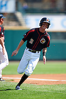 Rochester Red Wings first baseman James Beresford (2) running the bases during a game against the Durham Bulls on July 20, 2016 at Frontier Field in Rochester, New York.  Rochester defeated Durham 6-2.  (Mike Janes/Four Seam Images)