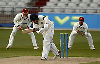 15th April 2021; Emirates Old Trafford, Manchester, Lancashire, England; English County Cricket, Lancashire versus Northants; Rob Jones of Lancashire clips through the covers