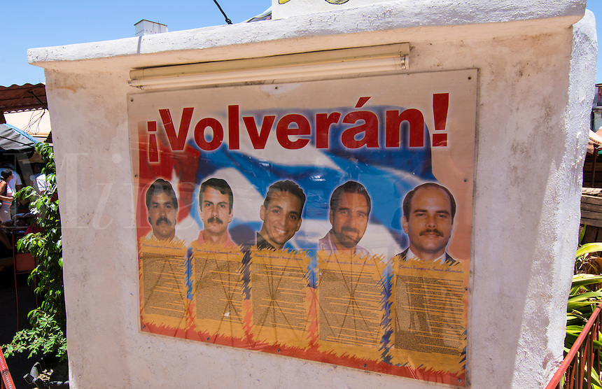 Havana Cuba poster of Five Heroes in prison in USA for spying and famous in Cuba as heroes