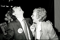 """Montreal (QC) Canada- -July 31 1984  File Photo -  William Dery (L) and<br /> <br /> Sheila Finestone (R) choosen as liberal candiate for the  riding of Mount Royal over William Dery (L)... In 1984 she was elected as a Liberal Member of Parliament for the Montreal riding of Mount Royal. She was re-elected in the 1988, 1993 and 1997 elections.<br /> <br /> Finestone was sworn to the Privy Council in November 1993 as Secretary of State (Multiculturalism and Status of Women). Finestone was appointed to the Senate of Canada in August 1999. She completed her term in the Senate in 2002 when she reached the mandatory retirement age of 75.<br /> <br /> She was a member of the board of the Canadian Landmine Foundation.<br /> <br /> In 2008, Finestone was the recipient of the Distinguished Service Award of the Canadian Association of Former Parliamentarians,[2] """"presented annually to a former parliamentarian who has made an outstanding contribution to the country and its democratic institutions.""""[3] The award was accepted on her behalf by her son Peter, due to Finestone's inability to attend, following health challenges.[4]"""