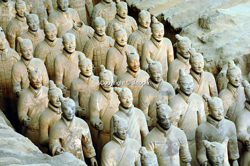 One of the pits containing some of the 7,000 strong 2,200 year-old Terracotta Warriors near Xi'an, China. The 7,000 strong army of Terracota Warriors was unearthed in 1974 by a group of farmers digging a well.