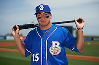 Biloxi Shuckers outfielder Tyrone Taylor (15) poses for a photo before the first game of a double header against the Pensacola Blue Wahoos on April 26, 2015 at Pensacola Bayfront Stadium in Pensacola, Florida.  Biloxi defeated Pensacola 2-1.  (Mike Janes/Four Seam Images)