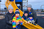 Wk05 The Walsh family enjoying the playground at Rossbeigh on Saturday<br /> L-R Niamh Walsh, holding her son Iarlaith with sons Eanna & Naoise with Dad, Eoghan behind.