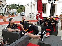 Photo: Richard Lane/Richard Lane Photography. Wasps rugby team and supporters travel to Toulon for the RC Toulon v Wasps.  European Rugby Champions Cup Quarter Final. 04/04/2015.Wasps players, Guy Thompson, Jack Cooper-Woolley and Alex Lozowski relax as the team arrive at the hotel.