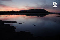 South Africa, South Western Cape, Hermanus, Mountain and lake at dawn (Licence this image exclusively with Getty: http://www.gettyimages.com/detail/sb10061764c-001 )