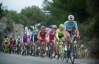 Milan-San Remo 2012.raceday.Stijn Vandenbergh leading the peloton up Capo Berta