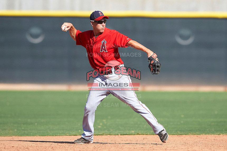 Los Angeles Angels minor league infielder Taylor Lindsey #12 during an instructional league game against the Arizona Diamondbacks at the Tempe Diablo Minor League Complex on October 1, 2012 in Tempe, Arizona.  (Mike Janes/Four Seam Images)
