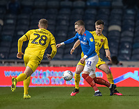 Fleetwood Town's Callum Connolly (right) and Jack Sowerby (left)  put Southend United's Stephen McLaughlin (centre) under pressure<br /> <br /> Photographer David Horton/CameraSport<br /> <br /> The EFL Sky Bet League One - Portsmouth v Fleetwood Town - Tuesday 10th March 2020 - Fratton Park - Portsmouth<br /> <br /> World Copyright © 2020 CameraSport. All rights reserved. 43 Linden Ave. Countesthorpe. Leicester. England. LE8 5PG - Tel: +44 (0) 116 277 4147 - admin@camerasport.com - www.camerasport.com