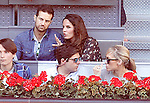 Spanish journalist Lujan Arguelles (r) during Madrid Open Tennis 2016 match.May, 3, 2016.(ALTERPHOTOS/Acero)