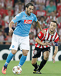 Athletic de Bilbao's Carlos Gurpegi (r) and SSC Napoli's Gonzalo Higuain during Champions League 2014/2015 Play-off 2nd leg match.August 27,2014. (ALTERPHOTOS/Acero)