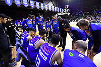 Coach Zico Coronel of the Saints talks to his players during the NBL match between the Wellington Saints and the Auckland Huskies at TSB Bank Arena, Wellington, New Zealand on Friday 28 May 2021.<br /> Photo by Masanori Udagawa. <br /> www.photowellington.photoshelter.com