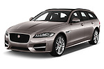 2018 Jaguar XF Sportbrake R Sport 5 Door Wagon angular front stock photos of front three quarter view
