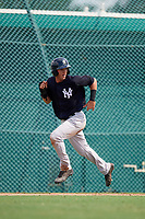 New York Yankees Pablo Olivares (43) runs home during an Instructional League game against the Pittsburgh Pirates on September 28, 2017 at Pirate City in Bradenton, Florida.  (Mike Janes/Four Seam Images)