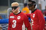 Brendan Gaulin and Aron Ghebreyohannes, Toronto 2015 - Goalball.<br /> Canada's men's Goalball team plays in the bronze medal game // L'équipe masculin de goalball du Canada participe au match pour la médaille de bronze. 15/08/2015.