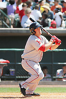 Greenville Drive designated hitter Tim Roberson #15 at bat during a game against the Charleston RiverDogs at Joseph P. Riley Jr. Ballpark  on April 9, 2014 in Charleston, South Carolina. Greenville defeated Charleston 6-3. (Robert Gurganus/Four Seam Images)