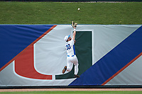 Jimmy Herron (30) of the Duke Blue Devils jumps to catch a ball against the Virginia Cavaliers in Game Seven of the 2017 ACC Baseball Championship at Louisville Slugger Field on May 25, 2017 in Louisville, Kentucky. The Blue Devils defeated the Cavaliers 4-3. (Brian Westerholt/Four Seam Images)
