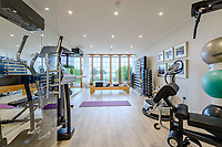 BNPS.co.uk (01202) 558833. <br /> Pic: TailorMade/BNPS<br /> <br /> Pictured: Gym. <br /> <br /> A multi-millionaire is hoping to have a shot at selling his luxury mansion - by throwing a hi-tech golf simulator into the deal.<br />  <br /> Golf-loving Barry Bester put the waterfront property on Sandbanks, Dorset, on the market for £11m last year.<br />  <br /> He is now offering his £40,000 state-of-the-art simulator he has had built on the grounds with the sale.