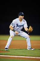 Tampa Tarpons third baseman Angel Aguilar (7) during the second game of a doubleheader against the Lakeland Flying Tigers on May 31, 2018 at George M. Steinbrenner Field in Tampa, Florida.  Lakeland defeated Tampa 3-2.  (Mike Janes/Four Seam Images)