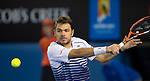 Stanislas Wawrinka (SUI) loses in the semis to Novak Djokovic (SRB) 7-6, 3-6, 6-4, 4-6, 6  at the Australian Open being played at Melbourne Park in Melbourne, Australia on January 30, 2015