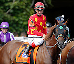 ARLINGTON HEIGHTS, IL - AUGUST 13: Surgical Strike #7, ridden by Flavien Prat, during the post parade before the Secretariat Stakes at Arlington International Racecourse on August 13, 2016 in Arlington Heights, Illinois. (Photo by Jon Durr/Eclipse Sportswire/Getty Images)