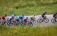 as Team Movistar up the pace up the Col du Pré (HC/1748m/12.6km@7.7%) yellow jersey / GC leader Alexey Lutsenko (KAZ/Astana - Premier Tech) sees his team dissipating behind him...<br /> <br /> 73rd Critérium du Dauphiné 2021 (2.UWT)<br /> Stage 7 from Saint-Martin-le-Vinoux to La Plagne (171km)<br /> <br /> ©kramon
