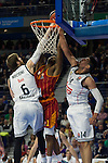 Real Madrid´s Andres Nocioni and Gustavo Ayon and Galatasaray´s Carter during 2014-15 Euroleague Basketball match between Real Madrid and Galatasaray at Palacio de los Deportes stadium in Madrid, Spain. January 08, 2015. (ALTERPHOTOS/Luis Fernandez)