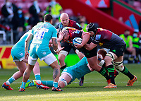 17th April 2021; Twickenham Stoop, London, England; English Premiership Rugby, Harlequins versus Worcester Warriors; Wilco Louw of Harlequins is held in his charge forward
