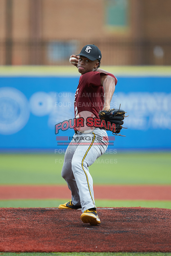 Jimmyll Williams (2) of Hillside High School in Durham, NC during the Atlantic Coast Prospect Showcase hosted by Perfect Game at Truist Point on August 23, 2020 in High Point, NC. (Brian Westerholt/Four Seam Images)