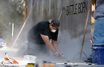 Crews repair the Battle Born memorial at the Capitol, in Carson City, on Monday, Dec. 17, 2018. <br /> Photo by Cathleen Allison/Nevada Momentum