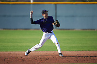 Jonathan Lucio (1) of John F. Kennedy High School in Granada Hills, California during the Baseball Factory All-America Pre-Season Tournament, powered by Under Armour, on January 14, 2018 at Sloan Park Complex in Mesa, Arizona.  (Art Foxall/Four Seam Images)