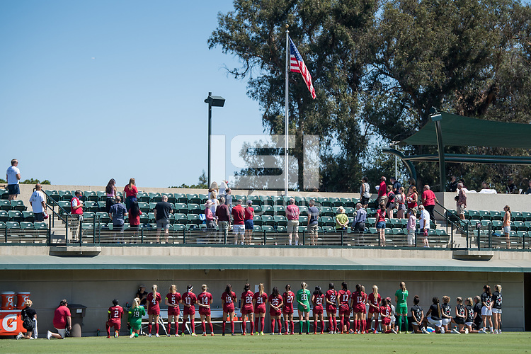 STANFORD, CA - SEPTEMBER 12: National Anthem before a game between Loyola Marymount University and Stanford University at Cagan Stadium on September 12, 2021 in Stanford, California.
