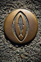 """Europe/France/Bretagne/29/Finistère/Douarnenez: Sardine  en bronze balisant le  """"Chemin de la Sardine"""""""