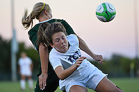 TCU forward Emma Heckendorn (22) collides with a Baylor player during first half of an NCAA soccer game, Friday, October 03, 2014 in Waco, Tex. TCU draw 1-1 against Baylor in double overtime. (Mo Khursheed/TFV Media via AP Images)