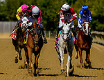 October 3, 2020: Laki #4, ridden by Horacio Karamanos, wins the Frank J. DeFrancis Memorial Dash during Preakness Stakes Day at Pimlico Race Course in Baltimore, Maryland. John Voorhees/Eclipse Sportswire/CSM