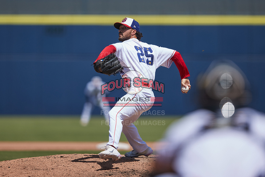 Kannapolis Cannon Ballers relief pitcher Hunter Speer (25) in action against the Lynchburg Hillcats at Atrium Health Ballpark on August 29, 2021 in Kannapolis, North Carolina. (Brian Westerholt/Four Seam Images)