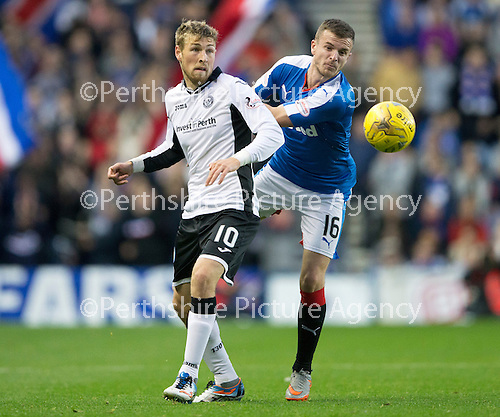 Rangers v St Johnstone...22.09.15  Scottish League Cup Round 3, Ibrox Stadium<br /> David Wotherspoon and Andy Halliday<br /> Picture by Graeme Hart.<br /> Copyright Perthshire Picture Agency<br /> Tel: 01738 623350  Mobile: 07990 594431
