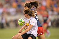 Houston, TX - Sunday Oct. 09, 2016: Elizabeth Eddy, Katie Stengel during the National Women's Soccer League (NWSL) Championship match between the Washington Spirit and the Western New York Flash at BBVA Compass Stadium.