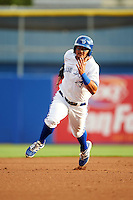 Dunedin Blue Jays second baseman Christian Lopes (11) running the bases during a game against the Palm Beach Cardinals on April 15, 2016 at Florida Auto Exchange Stadium in Dunedin, Florida.  Dunedin defeated Palm Beach 8-7 in ten innings.  (Mike Janes/Four Seam Images)