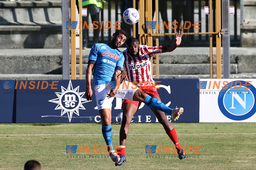 Faouzi Ghoulam of SSC Napoli compete for the ball<br /> during the friendly football match between SSC Napoli and SS Teramo Calcio 1913 at stadio Patini in Castel di Sangro, Italy, September 04, 2020. <br /> Photo Cesare Purini / Insidefoto