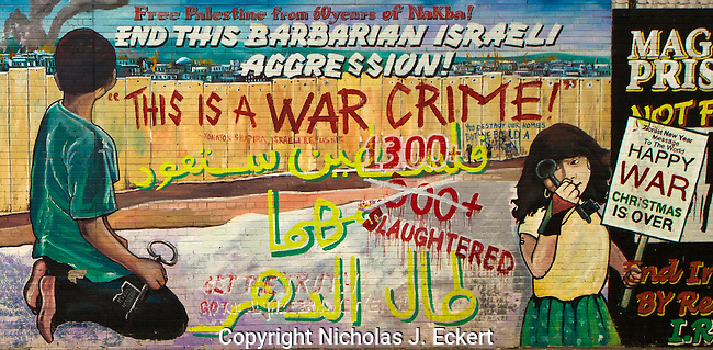 This mural expresses support for the Palestinians in general and those in Gaza in particular. The references to Christmas refer to Operation Cast Lead, a major Israeli incursion into Gaza that took place between late 2008 and early 2009.